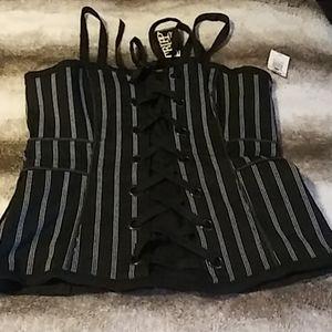 Black Pinstripe Corset XXL